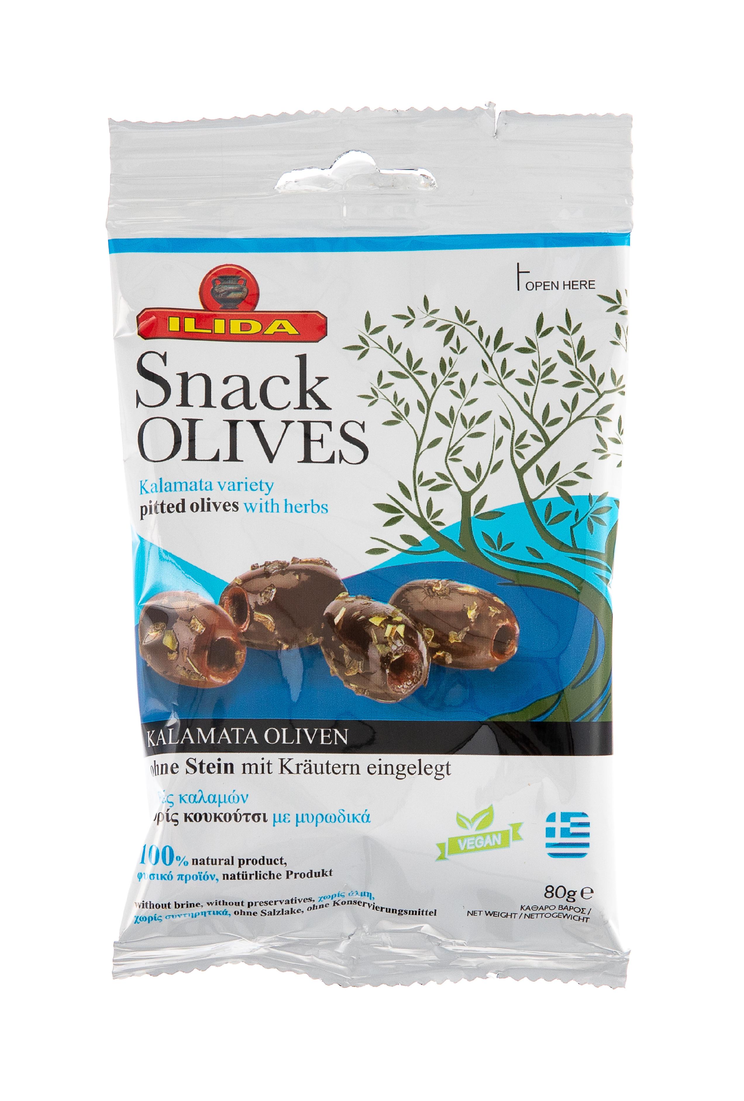 Černé marinované olivy KALAMATA bez pecky 80 g