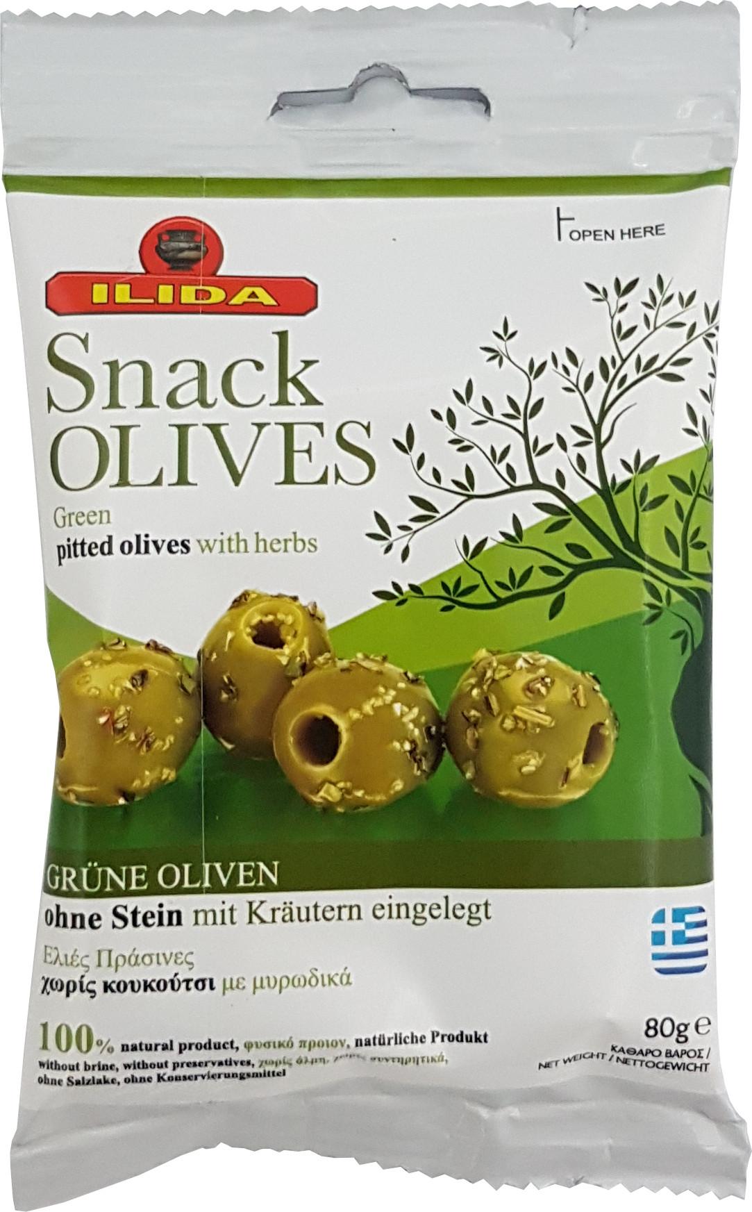 Zelené marinované olivy bez pecky 80 g